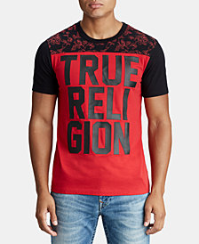 True Religion Mens Floral Yoke Graphic Logo T-Shirt