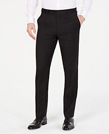 Men's Classic-Fit UltraFlex Stretch Black Solid Flat Front Suit Pants