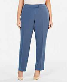 Anne Klein Plus Size Bowie Tab-Front Pants