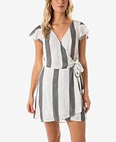 O Neill Juniors Maureen Flutter Sleeve Wrap Dress