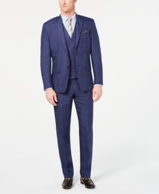 Men's Classic-Fit UltraFlex Stretch Blue Plaid Linen Suit Pants
