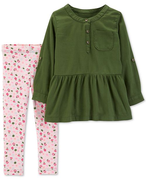 a721bc8692a Carter's Toddler Girls 2-Pc. Olive Tunic & Floral-Print Leggings Set ...