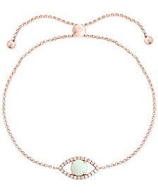 EFFY Opal (1/2 ct. t.w.) & Diamond (1/6 ct. t.w.) Evil Eye Bracelet Set in 14k Rose Gold