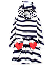 Carter's Toddler Girls Hooded Striped Heart Dress