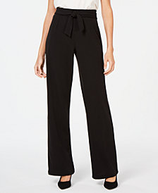 NY Collection Petite Tie-Waist Pants