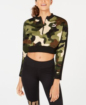Wild Pack T7 Cropped Quarter Zip Pullover in Forest Night Camo