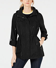 MICHAEL Michael Kors Hooded Cinch-Waist Raincoat