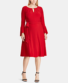Lauren Ralph Lauren Plus Size Keyhole Bell-Sleeve Dress