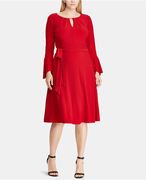 Lauren Ralph Lauren Plus Size Keyhole Bell-Sleeve Dress