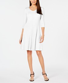 NY Collection Petite V-Neck Ribbed Sweater Dress