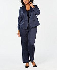 Le Suit Plus Size One-Button Glossy Pantsuit