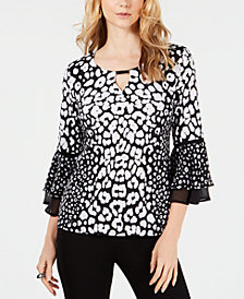 JM Collection Petite Animal-Print Bell-Sleeve Top, Created for Macy's