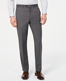 Men's Classic-Fit UltraFlex Stretch Gray Sharkskin Flat Front Suit Pants