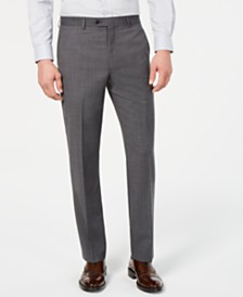 Lauren Ralph Lauren Men's Classic-Fit UltraFlex Stretch Gray Sharkskin Flat Front Suit Pants