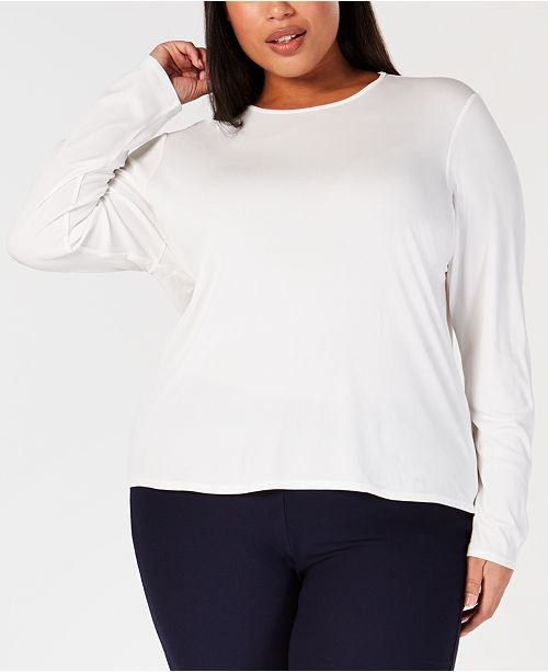 bea60d3d97cc3 Eileen Fisher Plus Size Silk Jersey Top   Reviews - Tops - Plus Sizes ...