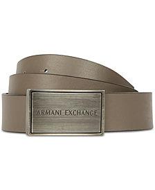 Armani Exchange Mens Reversible Logo Buckle Belt