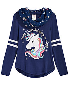 Belle Du Jour Big Girls 2-Pc. Unicorn Top & Scarf Set