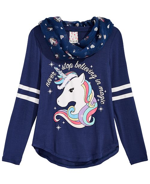Big Girls 2-Pc. Unicorn Top & Scarf Set