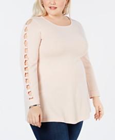 Joseph A Plus Size Lattice-Sleeve Sweater