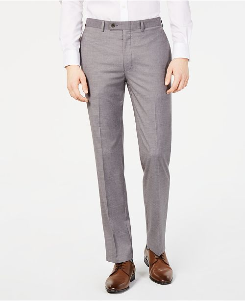Calvin Klein Men's Slim-Fit Performance Stretch Wrinkle-Resistant Light Gray Mélange Dress Pants