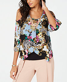 Thalia Sodi Cold-Shoulder Flutter-Overlay Necklace Top, Created for Macy's