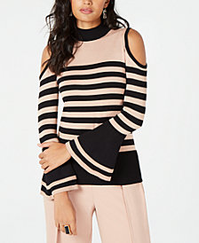 Thalia Sodi Mock-Neck Cold-Shoulder Sweater, Created for Macy's