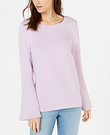 I.N.C. Embellished Bell-Sleeve Sweatshirt, Created for Macy's