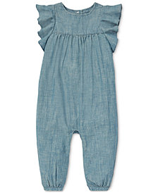Polo Ralph Lauren Baby Girls Ruffled Chambray Cotton Romper