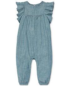 Polo Ralph Lauren Baby Girls Ruffled Chambray Cotton Romper