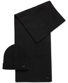 BOSS Men's Ribbed Cashmere Beanie & Scarf Set