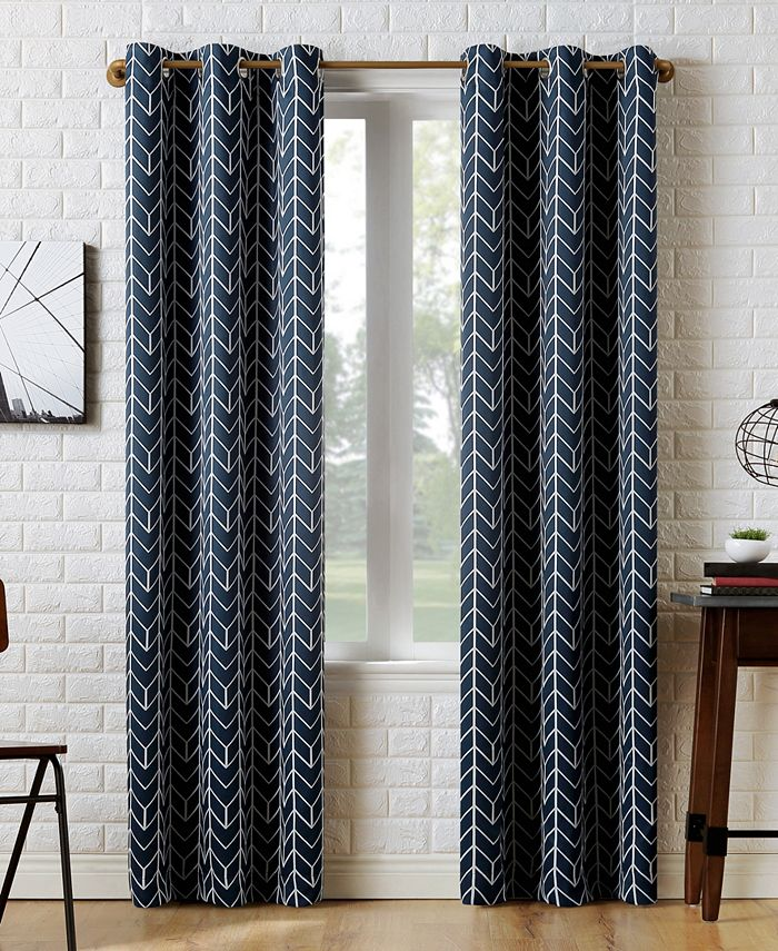 Sun Zero - Kenwood Chevron Blackout Grommet Curtain Panel Collection