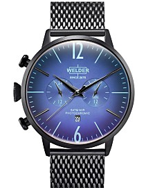 WELDER Men's Black Stainless Steel Mesh Bracelet Watch 45mm