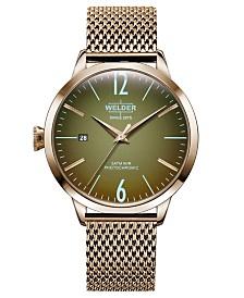 WELDER Women's Rose Gold-Tone Stainless Steel Mesh Bracelet Watch 38mm