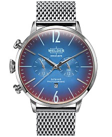 WELDER Men's Stainless Steel Mesh Bracelet Watch 45mm