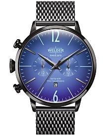 WELDER Men's Gunmetal Stainless Steel Mesh Bracelet Watch 45mm