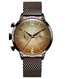 WELDER Women's Brown Stainless Steel Mesh Bracelet Watch 38mm