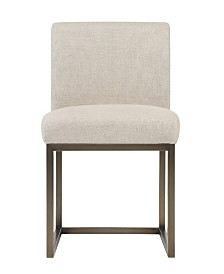 Haute Beige Linen Chair in Brass