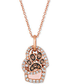 "Le Vian® Nude™ & Chocolate® Diamond Paw Print & Heart 20"" Pendant Necklace (7/8 ct. t.w.) in 14k Rose Gold"