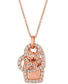 """Nude™ Diamond Heart & Paw 20"""" Pendant Necklace (1/3 ct. t.w.) in 14k Rose Gold"""