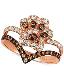 Nude™ & Chocolate® Diamond Paw Print Crown Ring (5/8 ct. t.w.) in 14k Rose Gold