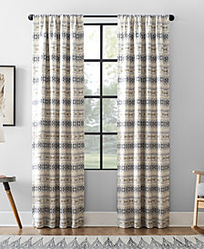 "Archaeo Ikat Stripe Cotton Blend Blackout Curtain, 40"" W x 95"" L"