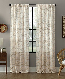 "Jigsaw Embroidery Linen Blend Curtain, 50"" W x 95"" L"