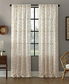 "Archaeo Jigsaw Embroidery Linen Blend Curtain, 50"" W x 95"" L"