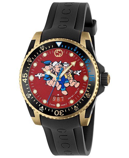 828bb57866a496 Gucci Men s Swiss Diver Black Rubber Strap Watch 40mm   Reviews ...