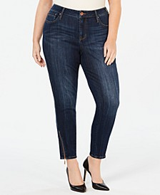 Plus Size Zipper-Trim Skinny Jeans