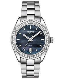 Women's Swiss PR 100 Sporty Chic Diamond-Accent Stainless Steel Bracelet Watch 36mm - A Special Edition