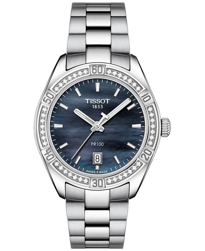 Tissot - Women's Swiss PR 100 Sporty Chic Diamond-Accent Stainless Steel Bracelet Watch 36mm
