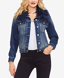 Vince Camuto Faux-Fur-Collar Denim Jacket