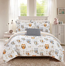 Owl Forest 6 Piece Twin Bed In a Bag Comforter Set