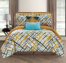 Abstract 9 Piece Full Bed In a Bag Comforter Set